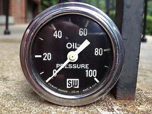 Original Stewart Warner Oil Pressure Gauge Curved Glass Big SW Hot Rod 32 Ford
