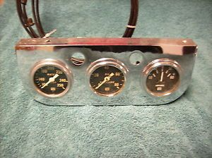 "Vintage Eelco Chrome Gauge Panel w Stewart Warner 2"" Hot Rod Rat Gasser 32 Ford"