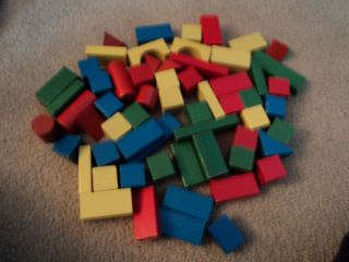 Lot of 60 Geometrical Shaped Wooden Building Blocks