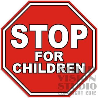 "10"" Stop for Children Ice Cream Truck Cart Concession Trailer Sign Sticker Decal"