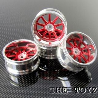 Associated Traxxas 1 10 1 16 RC Car 10 Spoke Wheel Rim 26mm Toyz 710 Red Chrome