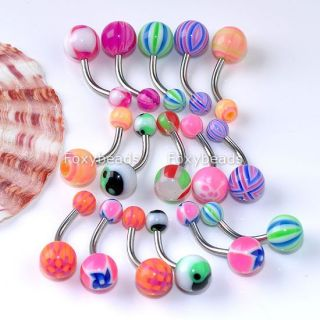 100pc Mix UV Ball Stainless Steel Navel Belly Ring Stud Bar Button Body Piercing