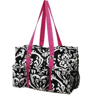Damask Print Travel Caddy Organizer Tote Bag