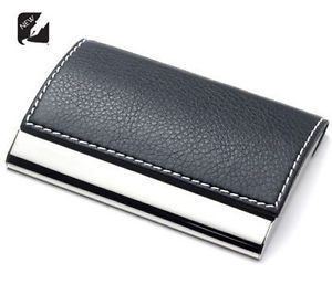 Personalized Black Leather Business Card Credit Card Holder Custom Engraved Free