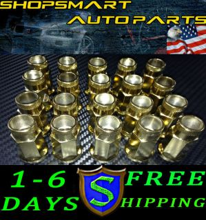 M12x1 25mm Gold Steel Tuner Lug Nut Set 20 Pcs Nissan Subaru Infiniti G35 350Z