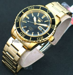 Seiko Men Sports Automatic Black Dial Gold Tone 100M Watch SNZH60K1