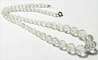 Czech Vtg Faceted Crystal Glass Beads Necklace 17""