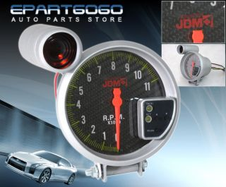 "JDM 5"" Carbon Fiber Tachometer 11K RPM Tach Gauge Shift Light 240sx 300zx 350Z"