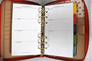 2013 Kate Spade Wellesley Zip Around Coral Leather Planner Organizer Agenda