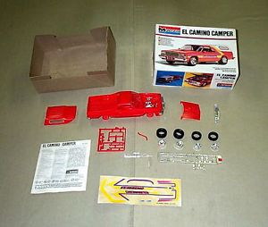 Vintage Monogram 1979 Chevy El Camino camper Pickup Truck Model Kit Open Parts