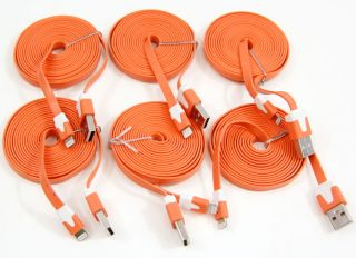 6X 2M 6 Feet Long Flat Noodle 8 Pin to USB Data Charger Sync Cable Cord iPhone 5