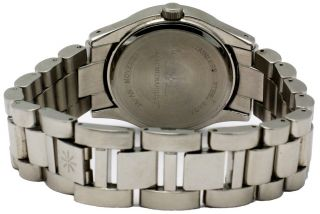 Isaac Mizrahi Live Men's Silver Tone Mother of Pearl Round Analog Date Watch