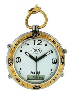 "Men's Gold Silver Tone Round ANA Digit Date ""Dad"" Pocket Watch Chain Open Face"