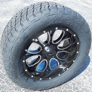 "20"" BLACK HELO 879 WHEELS RIMS NITTO TERRA GRAPPLER TIRES CHEVY GMC SIERRA 1500"