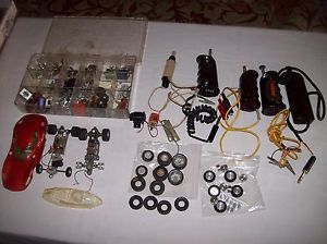 Lot of Vintage 1 24 Slot Car Parts Chassis Motors Wheels Tires Cox Controllers