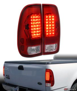 Red Clear Lens LED Tail Lights Lamps AW 97 03 Ford F150 LD 99 07 F250 F350 Super