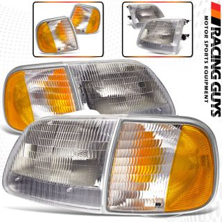 07 03 Ford Expedition F150 Pickup Truck Chrome Head Lights Corner Signal Lamps