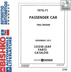 1970 1971 Chrysler Plymouth Dodge Part Numbers Book CD Interchange Drawings