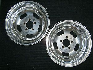 "2 Vintage Slotted Mag Wheels 16 5"" x 8"" Ford Slot Rims Keystone Chrome RARE 4 5"""