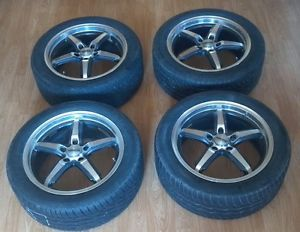 "Honda Accord 17"" Rim Tire Set 4 Maxx 7M Alloy Wheels Chrome Black Rims 5 Lug"