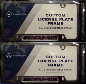 AMG License Plate Frames Carbon Fiber Coat Set of 2 OEM Mercedes Benz AMG Part