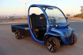 Custom Gem Car Truck Metallic Blue on Black Tribal 72V Electric NEV Golf Cart
