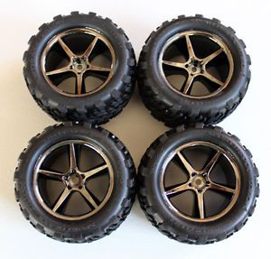 New Traxxas E Revo VXL 1 16 Black Chrome Wheels and Tires Rims