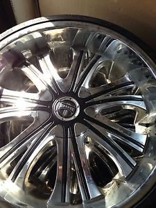 "24"" Chrome Rims Dub Mamba Wheels and Tires"