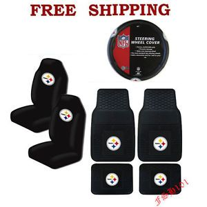 NFL Pittsburgh Steelers Car Truck Steering Wheel Cover Floor Mats Seat Covers