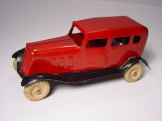 Old 1930's Wyandotte Pressed Steel Sedan Toy Car Rubber Tires Good Orig Cond