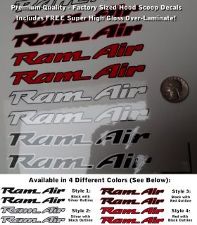 Trans Am RAM Air Hood Scoop Decals Set X2 Multicolor Outlined Premium Laminated