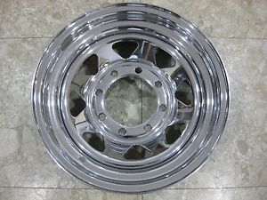 "16 x 7 Chrome Spoke Wheel Steel Wagon 8 Lug x 6 5 Bolt Circle 4"" Backspace"