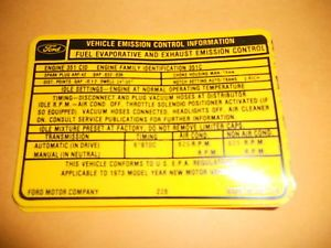 1973 Ford Torino Ranchero 351 2V Engine Emissions Decal