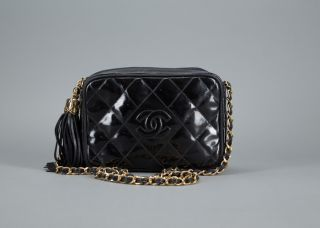 Chanel Black Patent Leather Vintage Small Camera Bag