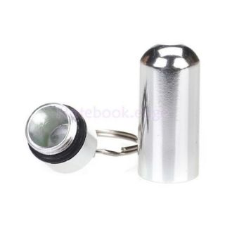 "Waterproof 1"" Silver Pill Fob Case Box Holder Container Keychain Camping Outdoor"