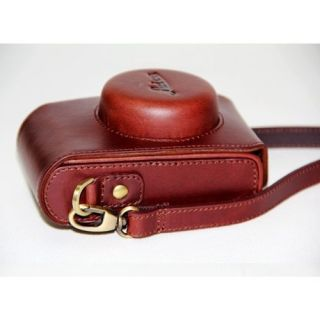 Leather Digital Camera Case Bag for Leica D LUX5 Lumix LX5 Dark Brown