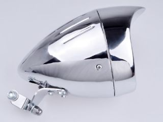 "7"" Metal Chrome Bullet Head Light Lamp w Visor for Harley Custom Chopper Bobber"