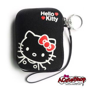 Hello Kitty Camera Case Phone Pouch w String Black New