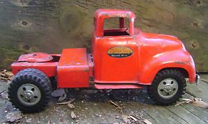 Vtg 1950's Tonka Semi Truck Cab Toy Red All Original Paint Parts or Repair