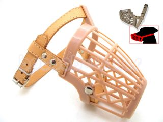Basket Dog Muzzle Adjustable Nylon Strap Pet Dog Grooming No Bark Bite Beige