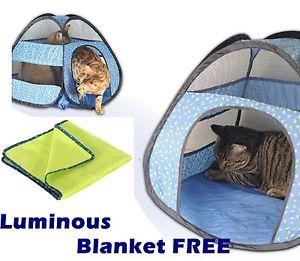 Pet Dog Cat Grow in Dark Tent Starry Night Hut Pop Up House Fleece Blanket Free
