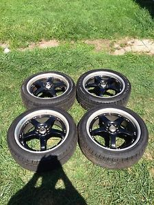 Akuza 429 Black Polished Rims 18 inch Rim and Tire Combo