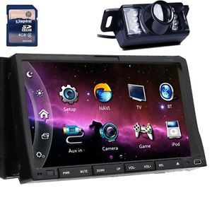 "Dual Zone HD 2 DIN 7"" Car DVD Player GPS Nav iPod BT Radio TV System Map Camera"