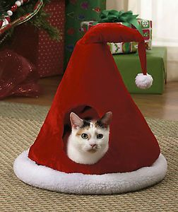 Christmas Santa's Hat Pet Cave Bed for Small Cat Dog Puppy Clothing