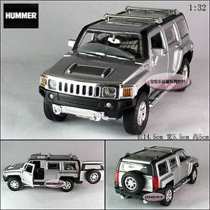 New 2007 Hummer H3 1 32 Alloy Diecast Model Car with Sound Light Silver B336