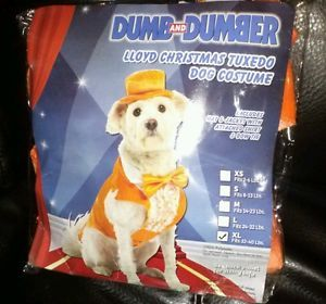 Dumb Dumber Lloyd Christmas Orange Tuxedo Halloween Pet Dog Costume New XL