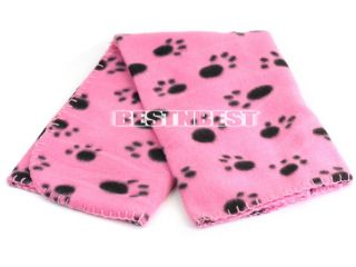 Cute Pet Dog Cat Blanket Paw Prints Soft Mat Pad Bed Cover 2 Colors