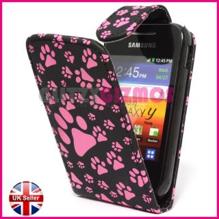 Pink Dog Cat Animal Paw Foot Print Design Case Cover for Samsung Galaxy Y S5360