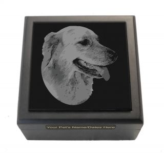 Personalized Golden Retriever Memorial Box Keepsake Pet Urn Custom Engraved