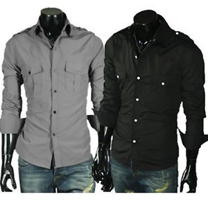 New Mens Fashion Stylish Casual Dress Slim Shirts 2 Colour Black Grey 4 Size